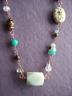 OddsnEnds wirewrapped copper and stone necklace by FerylDesigns, $44.00