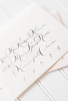 moira ink philippa hand - calligraphy with pink envelope