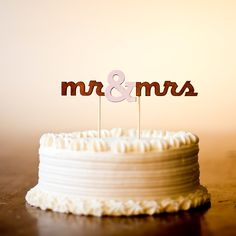 The Classic Wedding Cake Topper - Mr and Mrs - in Light Pink - Large - Ready to ship. $45.00, via Etsy.