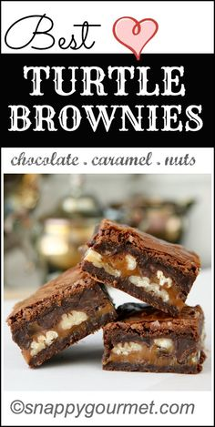 BEST Turtle Brownies Recipe - rich fudgy brownies stuffed with chocolate, caramel, & nuts!