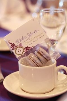 Valrhona Dark Chocolate French macaron wedding favours with place card favour tag | Yelp