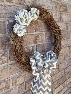 24 Chevron Burlap Wreath  Burlap Wreath  by TayandJaeCreations1,