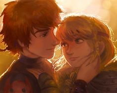 hiccup + astrid by vivedessins