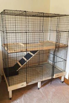 Homemade Flemish Giant Rabbit Cage More c&c cage chinchilla Diy Bunny Cage, Bunny Cages, Cat Cages, Rabbit Cages, Rabbit Cage Diy, Indoor Rabbit House, House Rabbit, Pet Rabbit, Indoor Rabbit Cage