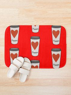 """Love Coffee With A Passion -White Travel Mug Coffee Design"" Bath Mat by Pultzar 