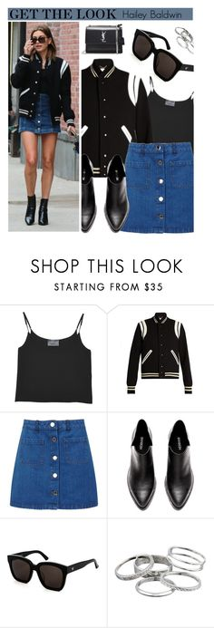 """Celebrity Look: Hailey Baldwin"" by smartbuyglasses ❤ liked on Polyvore featuring Antipodium, Yves Saint Laurent, Miss Selfridge, Baldwin, Gentle Monster, Kendra Scott, CelebrityStyle and haileybaldwin"