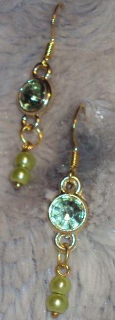 Beautiful Inset Green Rhinestone with Drop Green Glass Pearls Handcrafted by JewelryByTracyO on Etsy