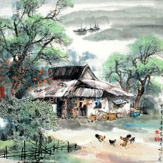 Home in the village Watercolor Landscape, Landscape Art, Watercolor Paintings, Watercolour, Thai Art, Indian Paintings, Paint By Number, Love Painting, Diy Frame