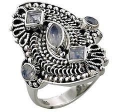 Himalayan Gems Sterling Silver Gemstone Ring - RAINBOW MOONSTONE