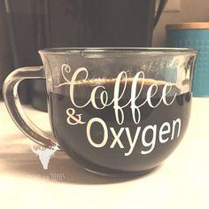 Coffee and oxygen mug | Clear Coffee mug | Large coffee mug | All I need | Funny…