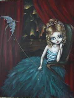 KEY KEEPER big eye fairy gothic victorian mystery lowbrow  Nina Friday giclee PRINT