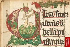 Decorated initial with a deer and satyr holding a cup.   Origin:Germany or Austria