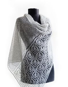 Fugra Shawl by Daria Sorokina. Pattern includes charts, stitch count totals and construction note.