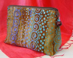 Brown Batik Cosmetic Bag, Zipper Pouch, Make Up Bag, Cosmetic Case, Toiletry Bag by rosemontbags on Etsy
