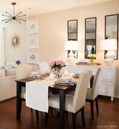 perfect for dining room in an apartment or smal space - decorating idea http://ariannabelle.com/blog