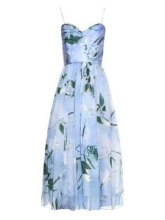 Shop our edit of women's designer dresses sale from luxury designers at MATCHESFASHION Blue Silk Dress, Silk Floral Dress, Blue Corset, Floral Dresses, Blue Summer Dresses, Dress Summer, Fit N Flare Dress, Mid Length Dresses, Casual Dresses