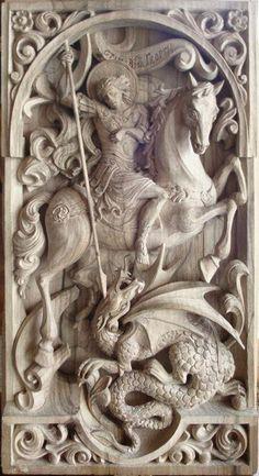 "George Slaying the Dragon / Popular ""Golden Legend"" - Defeating dragon near Silena, Libya - Giving reward away. Wood Carving Art, Wood Art, Wood Sculpture, Sculptures, Saint George And The Dragon, Steinmetz, Orthodox Icons, Medieval Art, Michelangelo"