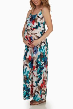 Teal-Abstract-Floral-Print-Maternity-Maxi-Dress