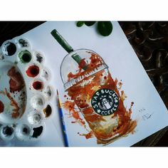 Starbucks watercolor painting  Check out my Instagram @mpupuutt and tell me what you think :)
