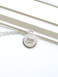 Double Heart Pendant Sterling Silver Pendant Joined by barargent