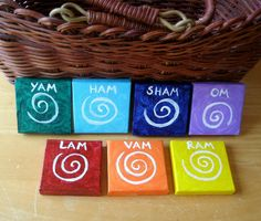 Chakra Art, Set of 7 Mini Paintings, Seed Sound Mantras Spirals for Chakras, Acrylic on 2x2 Mini Canvas, One for Each Major Chakra by SubtleHarmony on Etsy