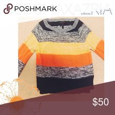 BCBGMAXAZRIA striped sweater BCBGMAXAZRIA striped sweater. This is such a cute pull over! It was styled in the store with yellow shorts! This sweater is a size small. BCBGMaxAzria Sweaters Crew & Scoop Necks