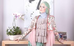 Pink cropped jacket and floral ruffled tank top by Kyuza Green-blue cotton shawl and grey inner hijab by Kami Idea Green skirt by House of Miranda Hijab accessories from Aquila wardrobe