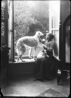 Louise Breslau at home with her Borzoi in Paris,1912