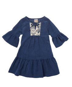 Lele Vintage Blue Peasant Dress - Toddler & Girls | zulily