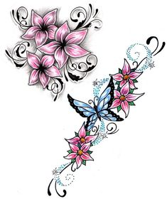 Small pink flowers n butterfly tattoo design - Tattoos Book . Tattoos And Body Art butterfly tattoo designs Butterfly With Flowers Tattoo, Tattoos For Women Flowers, Foot Tattoos For Women, Butterfly Tattoo Designs, Tattoo Designs For Women, Lotus Flower, Flower Designs, Flower Ideas, Delicate Flower Tattoo