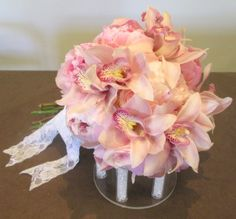 Orchid and peony bouquet