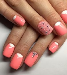 Pink nail polish colors really look great and lovely on nails. This is a color that many of the girls love to have in their nail polish set. Here are the top 10 picked up for you. Pink White Nails, Hot Pink Nails, Light Pink Nails, Pink Manicure, Rose Nails, Pink Black, Chanel Nail Polish, Pink Polish, Black Nail Polish