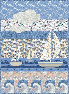 Free Pattern Day: Sailboats - = free pattern = Sailing Away quilt by Diane Nagle for Benartex, featured at Quilt Inspiration - Ocean Quilt, Beach Quilt, Quilt Baby, Boy Quilts, Nautical Quilt, Nautical Flags, Nautical Throws, Quilt Patterns Free, Free Pattern