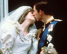 The Wedding Kiss. Wedding of HRH, Charles, Prince of Wales to Lady Diana Spencer. July 1981. #royalty