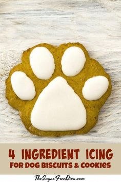 Homemade Dog cake Recipe: 4 Ingredient Icing for Dog Cookies THE SUGAR FREE DIVA This easy Homemade Dog Cake Recipe has a tasty blend of peanut butter honey and carrots your dog will love it! 4 Ingredient Icing for Dog Cookies Dog Cookie Recipes, Homemade Dog Cookies, Dog Biscuit Recipes, Homemade Dog Food, Dog Treat Recipes, Dog Food Recipes, Easy Dog Cookie Recipe, Cake Recipes, Simple Dog Treat Recipe
