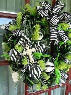 black and white deco mesh wreaths | White Lime Green and Black Zebra Deco Mesh Wreath by CrazyboutDeco