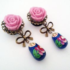 9/16 inch 14mm Pink Rose Blue Matryoshka Dangly by Glamsquared, $31.00----i want absolutely everything this person makes!!!