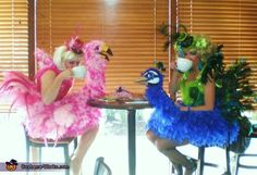 Together sipping coffee! Sit ting comfortably in our costumes! Birds of a Feather - Homemade costumes for women Homemade Costumes, Diy Costumes, Costumes For Women, Costume Ideas, Peacock Costume, Bird Costume, Baby Girl Halloween, Halloween Fun, Halloween Makeup