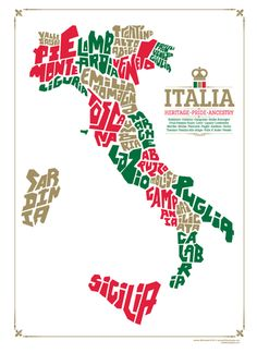 typeposters — Italy Region Map Silkscreened Poster: 3 Color