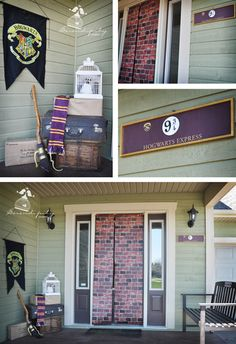 """Harry Potter party- entrance. Use 9 3/4 sign near front door, curtain or paper to walk through """"brick"""" wall. Luggage for trip."""