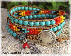 Bracelets Wrap En Cuir, Beaded Wrap Bracelets, Seed Bead Bracelets, Crochet Bracelet, Pandora Bracelets, Bead Jewellery, Beaded Jewelry, Vintage Jewellery, Antique Jewelry