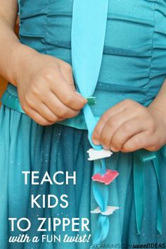 Teach kids how to use a zipper and Help kids learn how to zipper clothing using recycled materials that you probably have in your house. This activity works on all of the individual skills needed for the motor planning of zippering a zipper and uses just Occupational Therapy Activities, Motor Skills Activities, Gross Motor Skills, Sensory Activities, Preschool Activities, Sensory Rooms, Teaching Kids, Kids Learning, Self Help Skills
