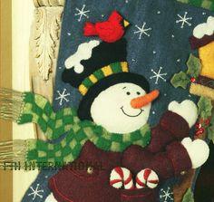 "Bucilla Folksy Snowman 18"" Felt Christmas Stocking Kit 85267 Birds Birdhouse | eBay"