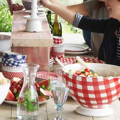 Add casual charm to your outdoor gatherings with these over-sized serving bowls by At Home with Marieke! Serving Dishes Set, Serving Bowls, Dining Decor, Dining Table, Red Gingham, Al Fresco Dining, Backyard Bbq, French Country Decorating, Fourth Of July