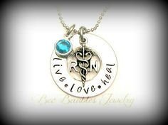 Hand Stamped Jewelry / RN necklace / Nurses / Nursing Student - Hand Stamped Stainless Steel Jewelry