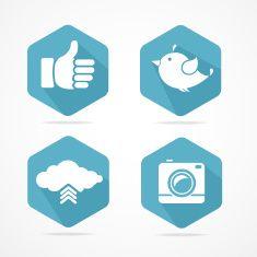 Vector social icons set. Flat Design vector art illustration