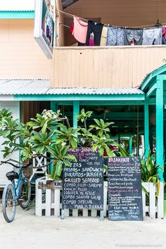 A bicycle in front of a restaurant on the island of Caye Caulker, Belize.  #cayecaulker #belize