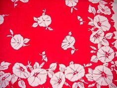Vintage Red & White MORNING GLORY Floral Cottage Tablecloth LANCASTER PRINTS  | eBay