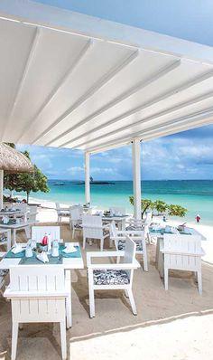 Beach restaurant. Belle Marre Plage Hotel. Mauritius