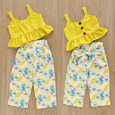 Color: As picture show. Quality is the first with best service. What You Get We will try our best to reduce the risk of the custom duties. girl US Toddler Infant Kids Baby Girl Top T-shirt+Long Pants Outfits Set Clothes Set Baby Dress Design, Baby Girl Dress Patterns, Dresses Kids Girl, Kids Outfits Girls, Baby Outfits, Vintage Girls Dresses, Summer Outfits, Summer Dresses, Baby Frocks Designs